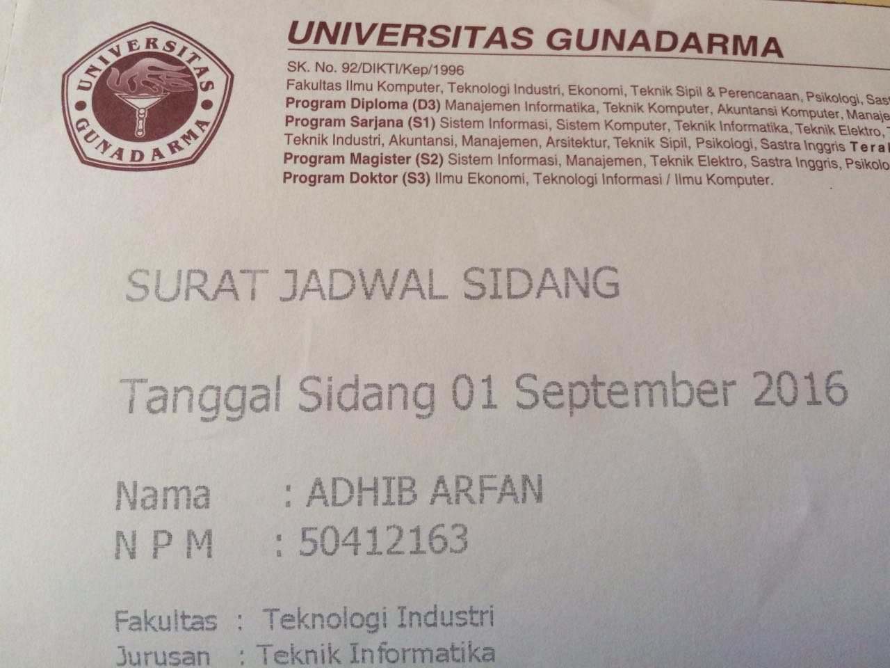 Sidang Skripsi 1 September 2016 Catatan Adhib Arfan